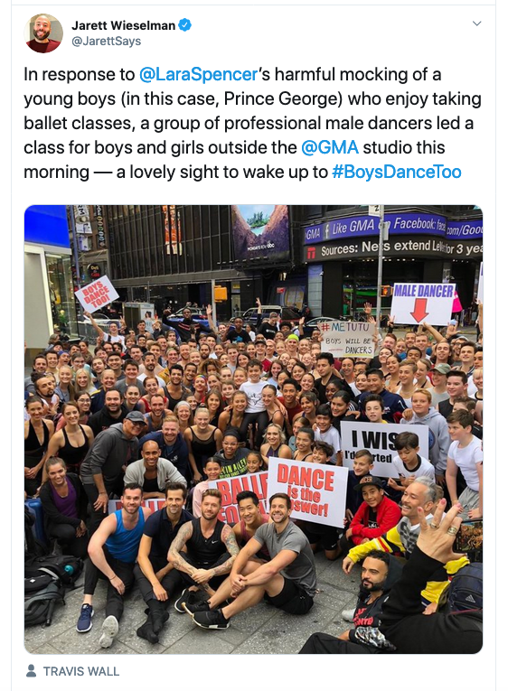 photo of boys taking ballet class in Times Square