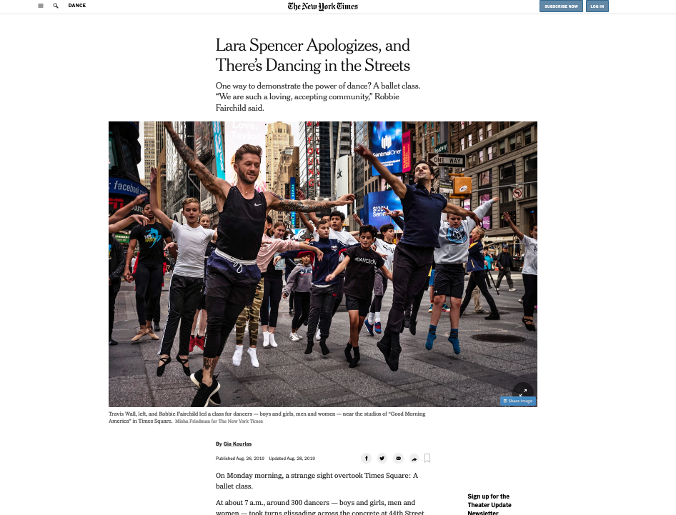 New York Times covers ballet class in Times Square
